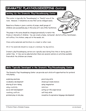 Dramatic Play/Housekeeping Center: PreK Learning Centers - Printable Worksheet