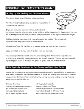 Cooking and Nutrition: Pre-K Learning Centers - Printable Worksheet