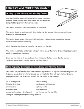 Library and Writing Center: PreK Learning Centers - Printable Worksheet