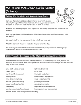 Math & Manipulatives/Science: Learning Center - Printable Worksheet