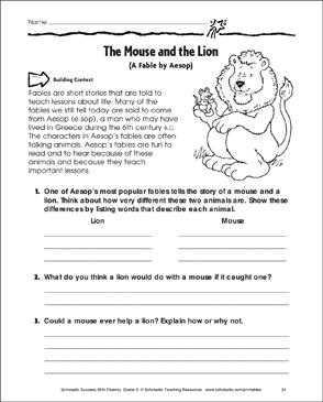 graphic regarding The Lion and the Mouse Story Printable titled The Mouse and the Lion: Fluency-Producing Train