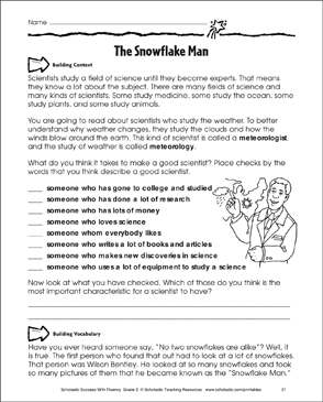 The Snowflake Man: Fluency-Building Practice - Printable Worksheet