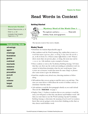 Nouns to Know: Read Words in Context (Gr 4–5) - Printable Worksheet