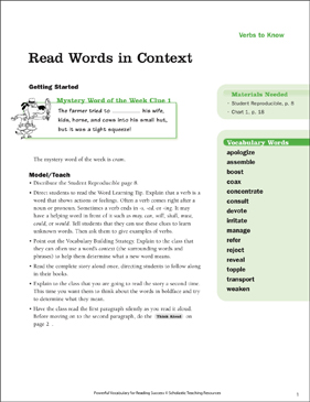 Verbs to Know: Read Words in Context - Printable Worksheet