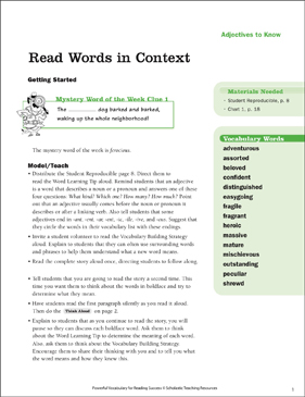 Adjectives: Read Words in Context (Grade 5) - Printable Worksheet