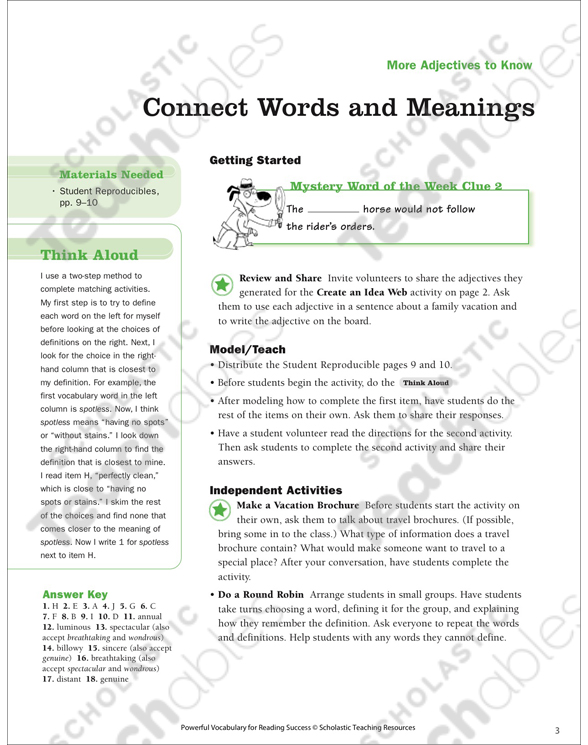 More Adjectives to Know: Read Words in Context   Printable