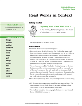 Multiple-Meaning Words: Read Words in Context - Printable Worksheet