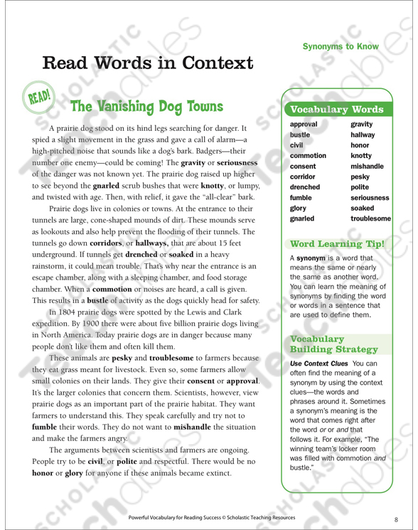 Synonyms to Know: Read Words in Context | Printable Lesson