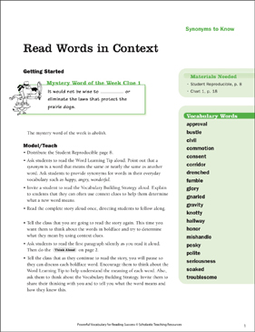 Synonyms to Know: Read Words in Context - Printable Worksheet