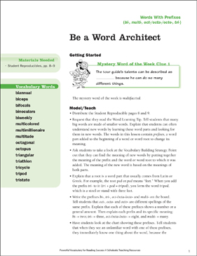 Words With Prefixes: Be a Word Architect - Printable Worksheet