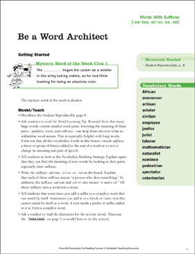 Word With Suffixes: Be a Word Architect - Printable Worksheet