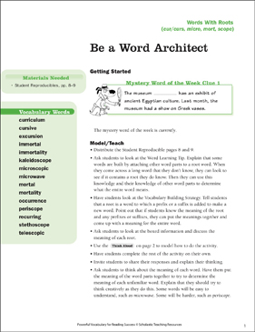 Words With Roots: Be a Word Architect - Printable Worksheet