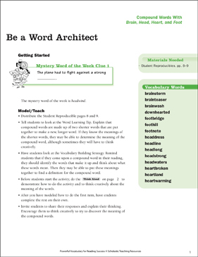 Compound Words: Be a Word Architect - Printable Worksheet