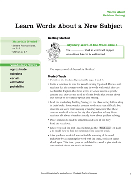 Problem Solving: Learn Words About a New Subject - Printable Worksheet