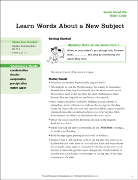 Water Cycle: Learn Words About a New Subject - Printable Worksheet