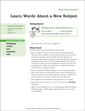 Research Words: Learn Words About a New Subject - Printable Worksheet