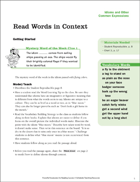 Idioms: Read Words in Context - Printable Worksheet