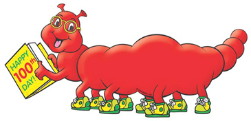 100th Day of School Red Worm - Image Clip Art