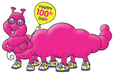 100th Day or School Pink Worm - Image Clip Art