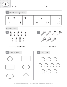 Math Practice Page: 2 (Grades K-1) - Printable Worksheet