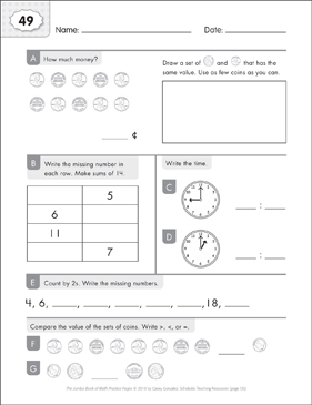 Math Practice Page: 49 (Grades 1-2) - Printable Worksheet