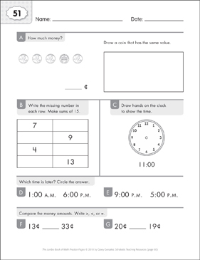 Math Practice Page: 51 (Grades 1-2) - Printable Worksheet