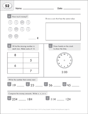 Math Practice Page: 52 (Grades 1-2) - Printable Worksheet