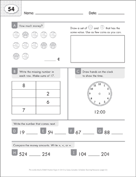 Math Practice Page: 54 (Grades 1-2) - Printable Worksheet