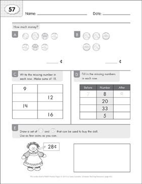 Math Practice Page: 57 (Grades 1-2) - Printable Worksheet