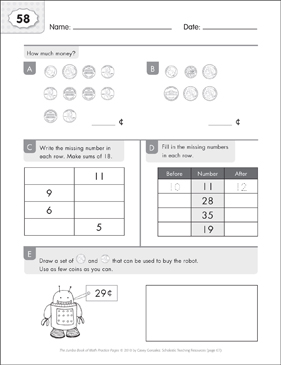 Math Practice Page: 58 (Grades 1-2) - Printable Worksheet