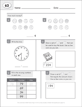 Math Practice Page: 63 (Grades 1-2) - Printable Worksheet