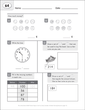 Math Practice Page: 64 (Grades 1-2) - Printable Worksheet