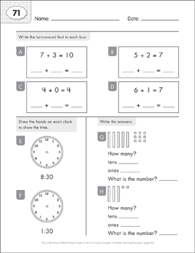 Math Practice Page: 71 (Grades 1-2) - Printable Worksheet