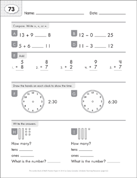 Math Practice Page: 73 (Grades 1-2) - Printable Worksheet