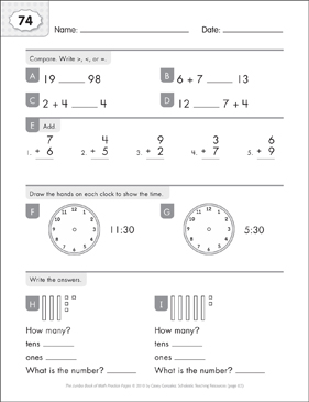 Math Practice Page: 74 (Grades 1-2) - Printable Worksheet