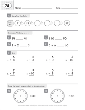 Math Practice Page: 75 (Grades 1-2) - Printable Worksheet