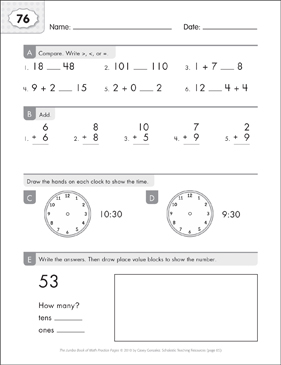 Math Practice Page: 76 (Grades 1-2) - Printable Worksheet
