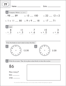 Math Practice Page: 77 (Grades 1-2) - Printable Worksheet