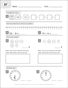Math Practice Page: 87 (Grades 1-2) - Printable Worksheet