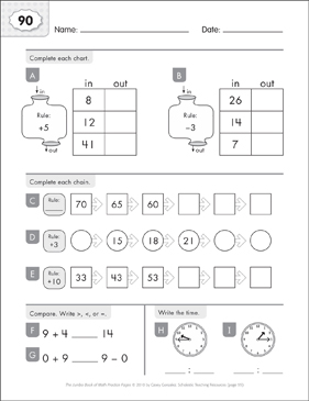 Math Practice Page: 90 (Grades 1-2) - Printable Worksheet