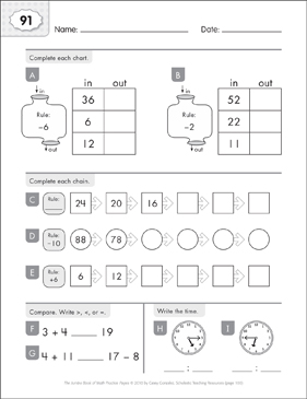 Math Practice Page: 91 (Grades 1-2) - Printable Worksheet
