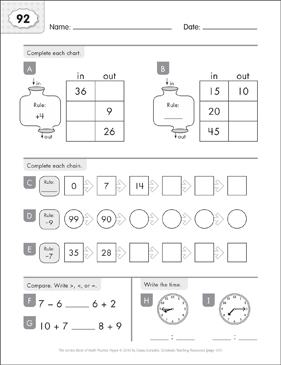 Math Practice Page: 92 (Grades 1-2) - Printable Worksheet