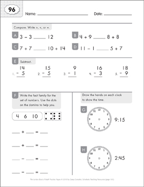 Math Practice Page: 96 (Grades 1-2) - Printable Worksheet