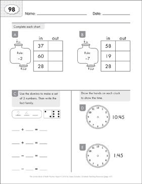 Math Practice Page: 98 (Grades 1-2) - Printable Worksheet