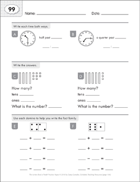 Math Practice Page: 99 (Grades 1-2) - Printable Worksheet