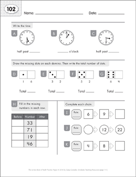 Math Practice Page: 102 (Grades 1-2) - Printable Worksheet