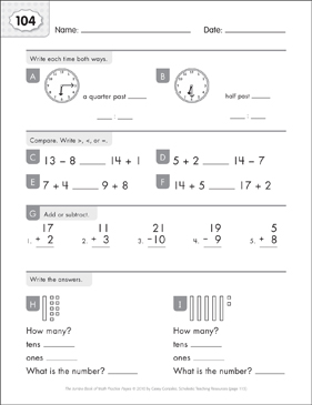 Math Practice Page: 104 (Grades 1-2) - Printable Worksheet