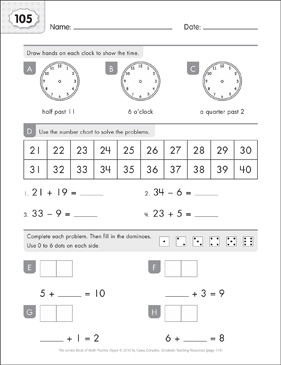 Math Practice Page: 105 (Grades 1-2) - Printable Worksheet