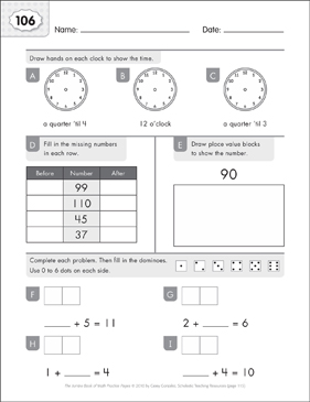 Math Practice Page: 106 (Grades 1-2) - Printable Worksheet