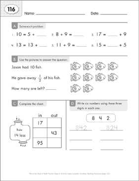 Math Practice Page: 116 (Grades 1-2) - Printable Worksheet